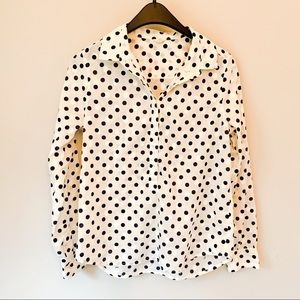 J Crew Size 8 Polka Dot Half Button Down Top